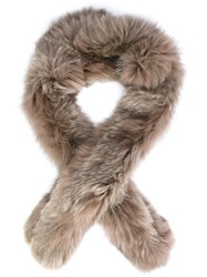 Derek Lam 10 Crosby Fox Fur Scarf Brown