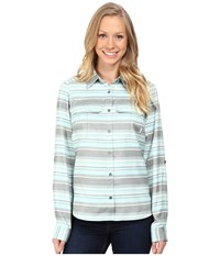 Columbia Pilsner Lodge Stripe Long Sleeve Shirt Spray Stripe Women's Long Sleeve Button Up Blue