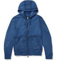 Berluti Hooded Leather Bomber Jacket Blue