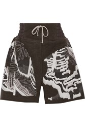 Rick Owens Embroidered Cashmere Shorts Gray