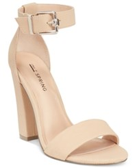Call It Spring Arther Two Piece Block Heel Sandals Women's Shoes Nude