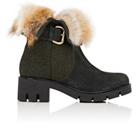 Mr And Mrs Italy Women's Fur Collar Suede Felt Ankle Boots No Color