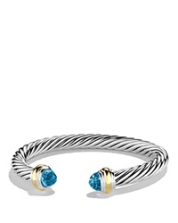 David Yurman Cable Classics Bracelet With Blue Topaz And Gold