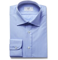 Dunhill Light Blue Slim Fit Micro Checked Cotton Poplin Shirt Blue