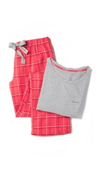 Calvin Klein Underwear Flannel Pajamas Gift Set Grey Heather Evocative Red