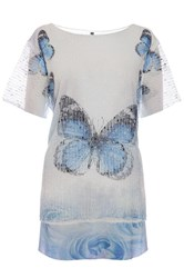 Quiz White Butterfly Mesh Sequin T Shirt