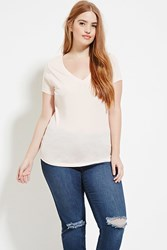 Forever 21 Plus Size V Neck Tee Peach