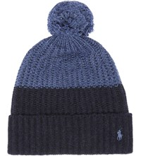 Polo Ralph Lauren Colour Block Knitted Bobble Hat Indigo Chambray