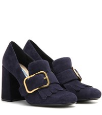 Prada Embellished Suede Pumps Blue