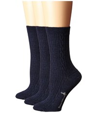 Smartwool Cable Ii 3 Pack Deep Navy Heather Women's Crew Cut Socks Shoes