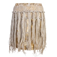 Claire Andrew Fringe Leather Skirt Gold