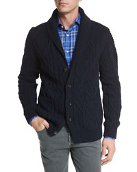 Isaia Cashmere Shawl Collar Cable Knit Cardigan Navy Navy Blue