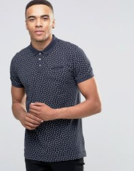 D Struct Printed Polo Shirt Navy