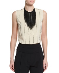 Brunello Cucinelli Monili Fringe Collar Necklace Black
