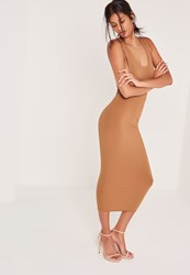 Missguided Ribbed Midi Pencil Skirt Camel Beige