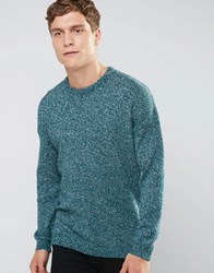 Asos Relaxed Crew Neck Jumper With Dropped Shoulder In Cotton Twist Green
