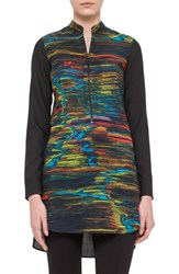 Women's Akris Punto Print Wool Tunic Blouse