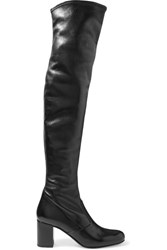 Saint Laurent Bb Stretch Leather Over The Knee Boots Black