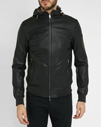 Armani Jeans Perforated Faux Leather Hooded Bomber Jacket