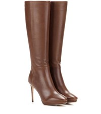 Jimmy Choo Hoxton 100 Knee High Leather Boots Brown