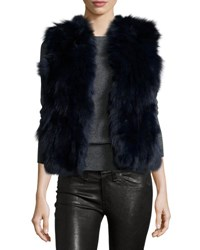 Adrienne Landau Fox And Rabbit Fur Vest Blue