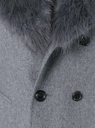 Thom Browne Off Centre Peaked Lapel Coat Grey