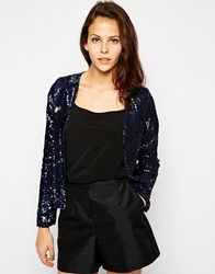 Oh My Love Sequin Jacket Blue