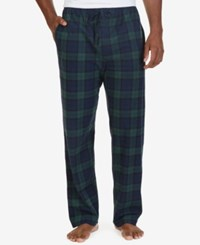Nautica Men's Tartan Plaid Fleece Pajama Pants Navy