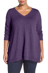 Plus Size Women's Eileen Fisher Organic Linen And Cotton V Neck Knit Tunic African Violet