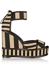 Pierre Hardy Striped Basketweave Jute And Leather Wedge Sandals Nude