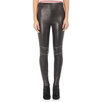 Saint Laurent Zipper Trimmed Leather Leggings Black