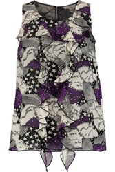 Anna Sui Ruffle Trimmed Printed Silk Chiffon Top Purple