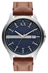 Armani Exchange Round Leather Strap Watch 46Mm Brown Blue