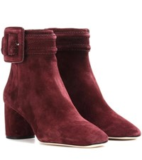 Miu Miu Suede Ankle Boots Red
