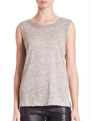Generation Love Lucy Crystal Embellished Tank Top Grey