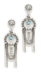 Dannijo Monterosso Earrings Ox Silver Clear Turquoise