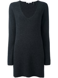 Helmut Lang V Neck Long Sweater Grey