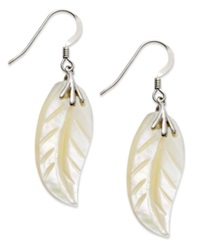 Macy's Sterling Silver Earrings Mother Of Pearl Leaf Drop Earrings