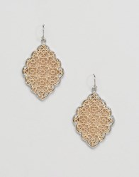 Ny Lon Nylon Two Tone Plated Detailed Earrings Gold Plated Silver