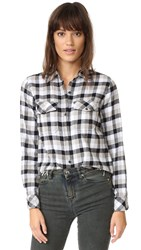 Current Elliott The Perfect Shirt Simon Plaid With Fray