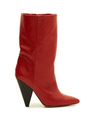 Isabel Marant Lexing Leather Boots Red