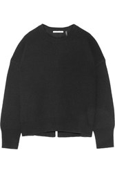 Helmut Lang Open Back Ribbed Wool And Cashmere Blend Sweater Black