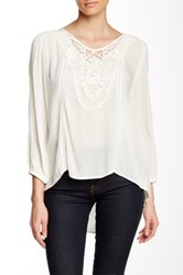 Dex Crocheted Accent Blouse White