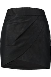 Mason By Michelle Mason Wrap Effect Perforated Leather Mini Skirt Black