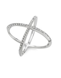 Michela Pave Cross Cocktail Ring Silver