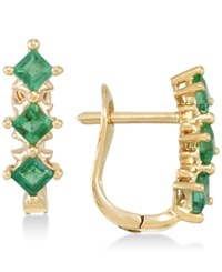 Rare Featuring Gemfields Certified Emerald Hoop Earrings 7 8 Ct. T.W. In 14K Gold Only At Macy's Yellow Gold