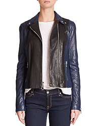 Vince Colorblock Leather Moto Jacket Black Blue