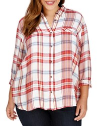 Lucky Brand Plus Plaid Button Down Blouse Red Multi