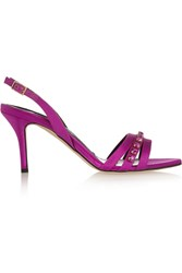 Oscar De La Renta Sherri Crystal Embellished Satin Sandals Purple