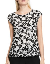 Vince Camuto Cap Sleeve Sequin Blouse White Black